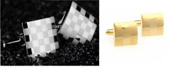 Запонки, шахматная доска под золото и серебро, модель 17