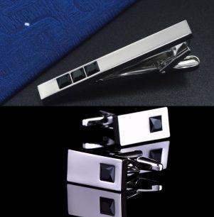 зажим для галстука и запонки черный камень, модель 52